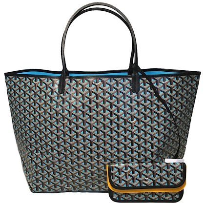 Limited Edition Paris Only Goyard Black and Blue Special Color St. Louis Tote GM