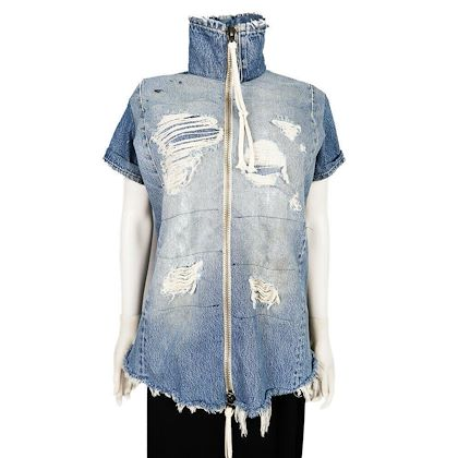 greg-lauren-vintage-denim-shirt-jacket-short-sleeve-zip-up-blue-size-5-xxl-pre-owned-used