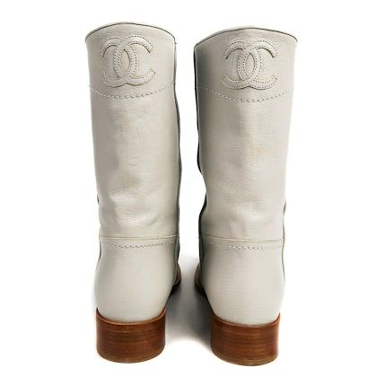 chanel-boots-gray-leather-cc-cowboy-mid-calf-us-95-40-pre-owned-used