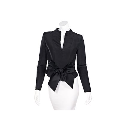 black-oscar-de-la-renta-silk-bow-jacket