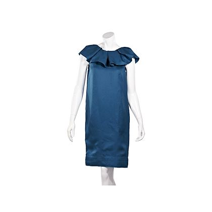 teal-lanvin-ruffle-trimmed-silk-shift-dress