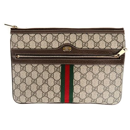 gucci-2018-gg-folder-stripe-bag-brown-canvas-monogram-logo-red-green-clutch-pre-owned-used