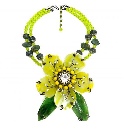 vintage-oversize-lawrence-vrba-acid-yellow-and-green-floral-necklace-and-brooch