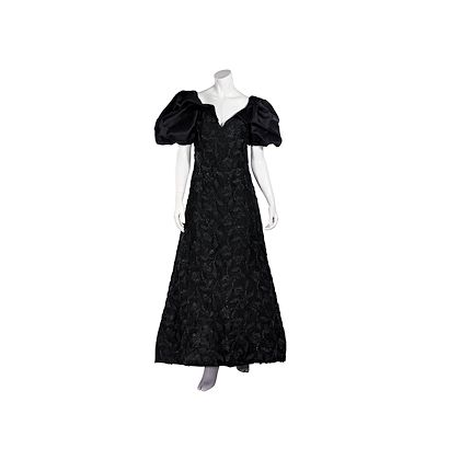 black-vintage-arnold-scaasi-lace-gown