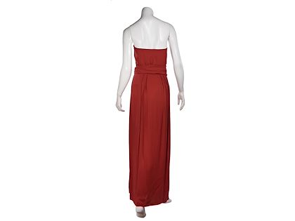 red-yves-saint-laurent-strapless-ruched-gown