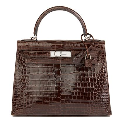 chocolate-brown-shiny-porosus-crocodile-leather-kelly-28cm-sellier