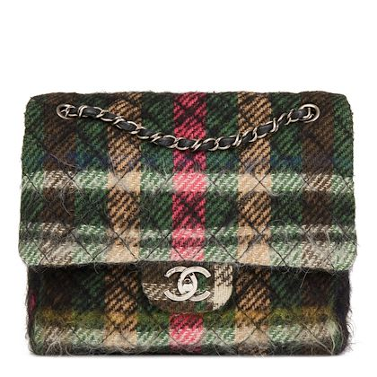 dark-multicolour-tartan-quilted-mohair-fabric-day-flap-bag