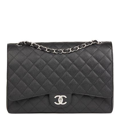 black-quilted-caviar-leather-maxi-classic-double-flap-bag