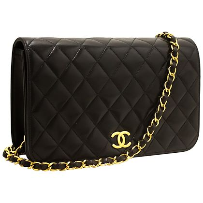 chanel-chain-shoulder-bag-black-clutch-flap-quilted-purse-lambskin-8