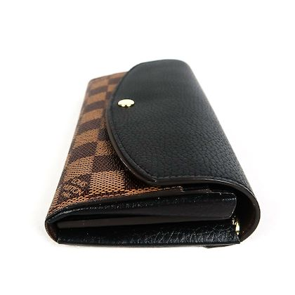 louis-vuitton-normandy-leather-wallet-damier-brown-canvas-long-black-pre-owned-used