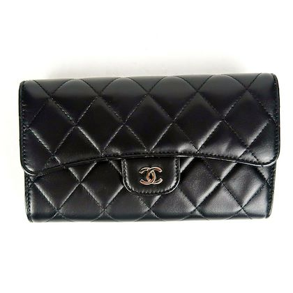 chanel-wallet-long-bifold-black-quilted-leather-lambskin-flap-cc-silver-logo-pre-owned-used