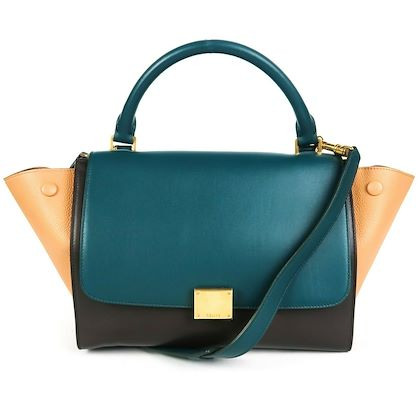 celine-trapeze-small-shoulder-bag-tan-black-teal-tri-color-leather-new