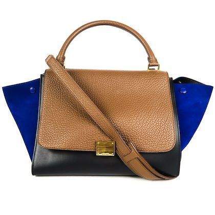 celine-medium-trapeze-bag-blue-brown-black-tri-color-leather-suede-pre-owned-used