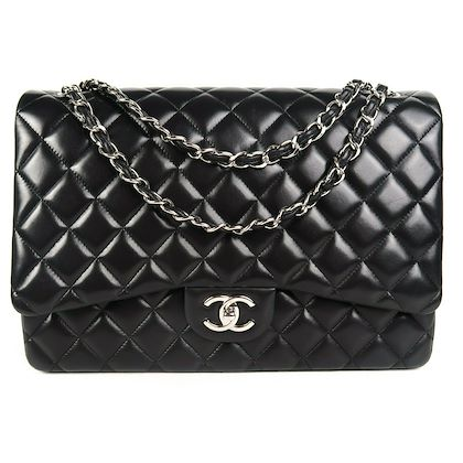 chanel-maxi-flap-bag-black-lambskin-quilted-cc-silver-double-flap-shoulder-pre-owned-used