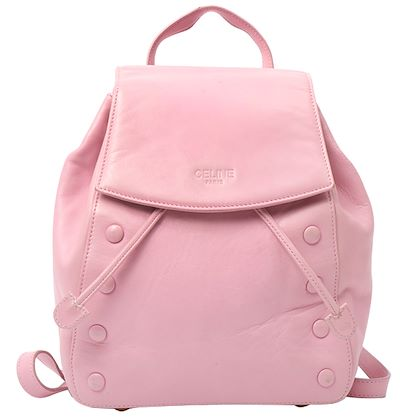 celine-leather-embossed-logo-backpack-with-pouch-strawberry-milk