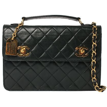chanel-double-turn-lock-2way-bag-black
