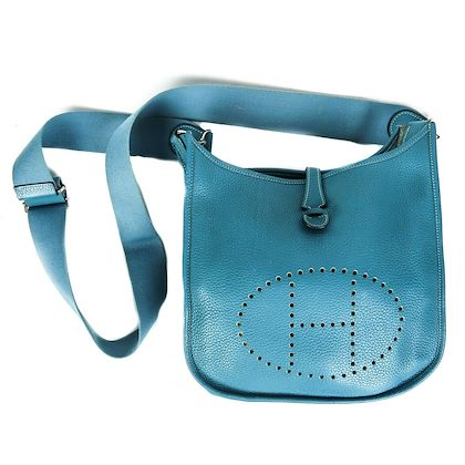 hermes-evelyne-iii-crossbody-blue-leather-clemence-pm-handbag-pre-owned-used