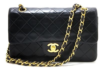 chanel-255-double-flap-9-chain-shoulder-bag-black-quilted-lamb-22