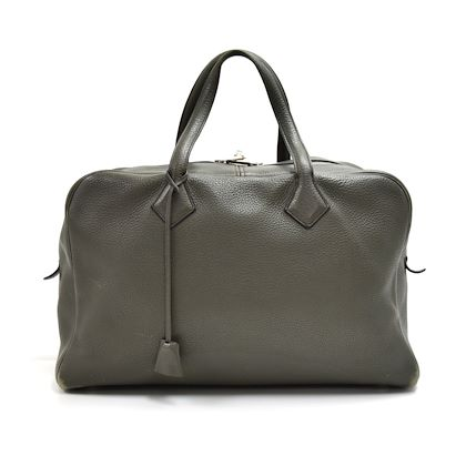 hermes-victoria-43-gray-clemence-leather-boston-duffle-travel-bag