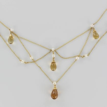 new-1470-carat-citrine-cultured-pearl-18-karat-gold-drapery-chain-necklace-2