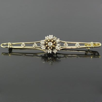 french-antique-diamond-silver-gold-flower-bar-brooch-2