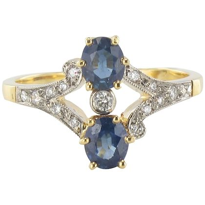 French Sapphire and Diamond Ring