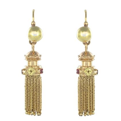 napoleon-3-french-gold-ruby-pompom-dangle-earrings-2