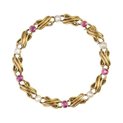 french-art-nouveau-natural-pearl-ruby-gold-row-link-bracelet-2