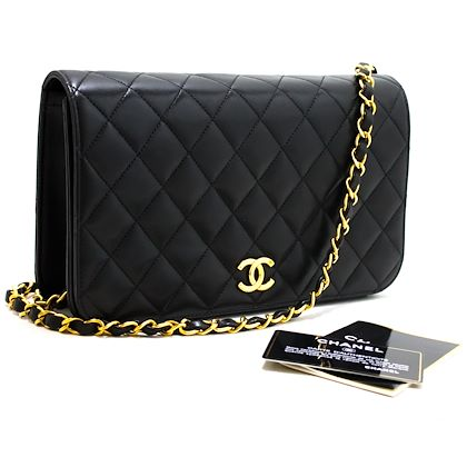 chanel-chain-shoulder-bag-black-clutch-flap-quilted-purse-lambskin-9