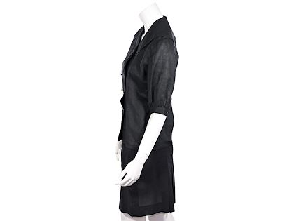 black-chanel-boutique-wool-pleated-skirt-suit-set