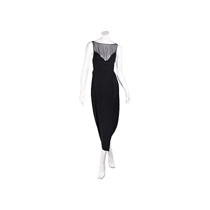 black-vintage-karl-lagerfeld-silk-mesh-accented-midi-dress