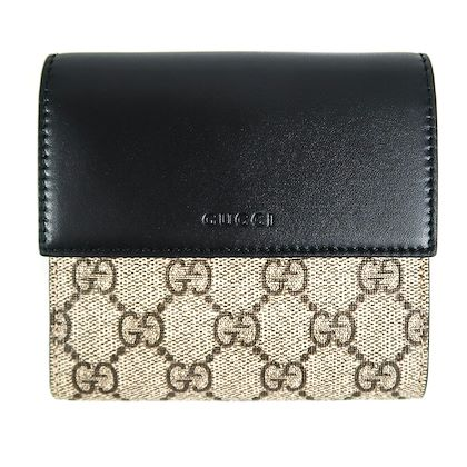 gucci-wallet-beige-ebony-gg-supreme-canvas-black-leather-french-flap-new