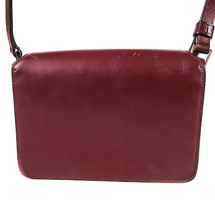 givenchy-logo-flap-crossbody-bag-burgundy-red-embossed-leather-pre-owned-used