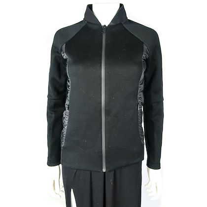 fendi-quilted-jacket-womens-black-neoprene-logo-sleeve-coat-us-0-38-pre-owned-used