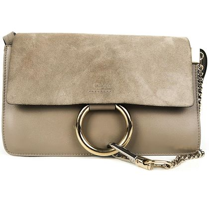 chloe-faye-small-crossbody-grey-suede-flap-ring-shoulder-bag-pre-owned-used