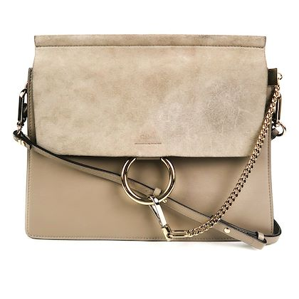 chloe-faye-medium-crossbody-bag-grey-suede-flap-ring-leather-shoulder-pre-owned-used