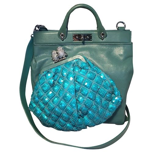 marc jacobs seafoam green leather and sequin small duffy frog tote, green
