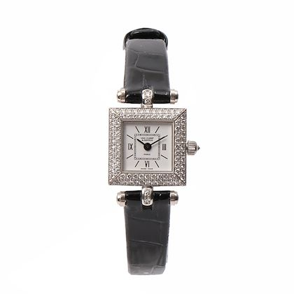 van-cleef-arpels-18k-diamond-bezel-square-face-watch-blacksilver