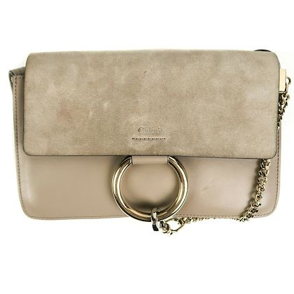 chloe-faye-small-ring-crossbody-shoulder-bag-grey-suede-flap-pre-owned-used