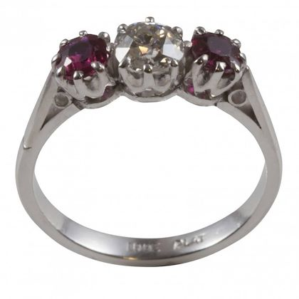 old-brilliant-cut-diamond-and-ruby-diamond-engagement-ring