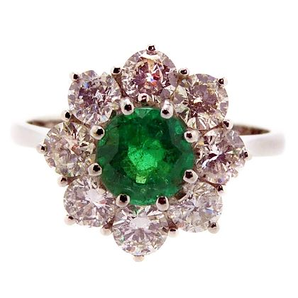 vintage-emerald-and-diamond-cluster-style-engagement-ring-18-carat-white-gold
