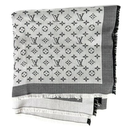 louis-vuitton-large-shine-shawl-monogram-charcoal-and-silver-lv-logo-pre-owned-used