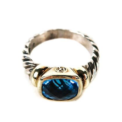 david-yurman-cable-ring-sterling-silver-14k-gold-blue-topaz-stone-pre-owned-used