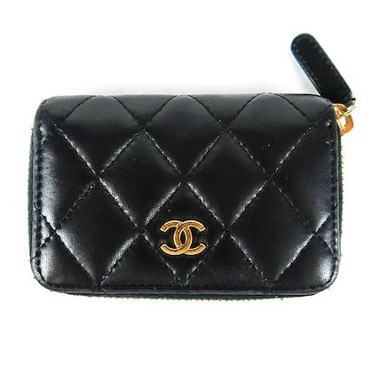 chanel-card-holder-zip-wallet-black-lambskin-leather-mini-cc-gold-pre-owned-used