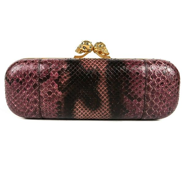 alexander-mcqueen-skull-clutch-long-purple-black-python-snakeskin-gold-pre-owned-used