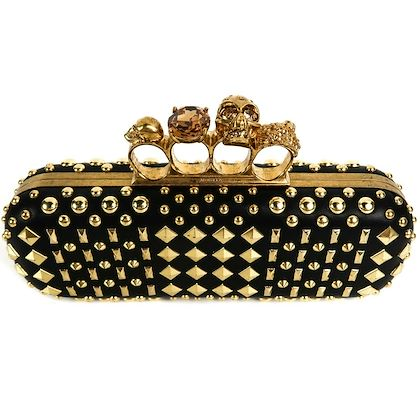 alexander-mcqueen-long-skull-black-clutch-gold-studded-knuckle-clasp-bag-pre-owned-used