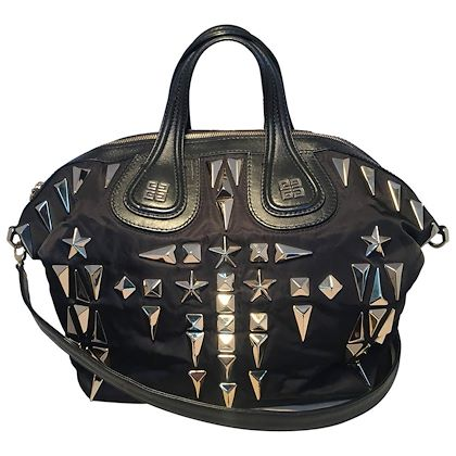 givenchy-black-nylon-and-leather-silver-studded-medium-nightingale-tote-bag