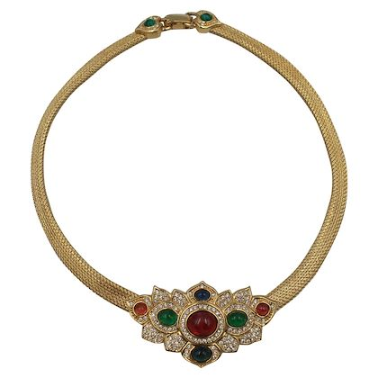 christian-dior-gold-plated-necklace-with-color-glass-stones