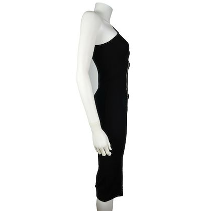 givenchy-zipper-dress-runw-mid-calf-black-one-shoulder-front-zip-us-0-34-pre-owned-used