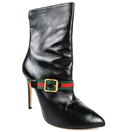 gucci-sylvie-boot-web-belt-leather-red-green-stripe-gold-buckle-us-9-39-pre-owned-used
